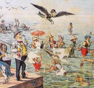 """Τα μπάνια εν Φαλήρω. Σκίτσο του σατυρικού περιοδικού """"Αριστοφάνης"""" το 1887"""
