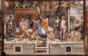 Ραφαήλ/Σοντόμα, Οι γάμοι του Μεγάλου Αλεξάνδρου με τη Ρωξάνη, τοιχογραφία, περ. 1517. Ρώμη, Βίλα Φαρνεζίνα. Έργο του Σοντόμα που βασίζεται σε σύνθεση του Ραφαήλ, η οποία αποδίδει έργο του Αετίωνος σύμφωνα με την Έκφραση του Λουκιανού