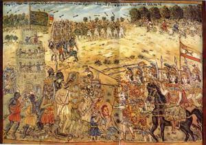 Πίνακας του Θεόφιλου. Ο Μέγας Αλέξανδρος μάχεται τους Ινδούς.
