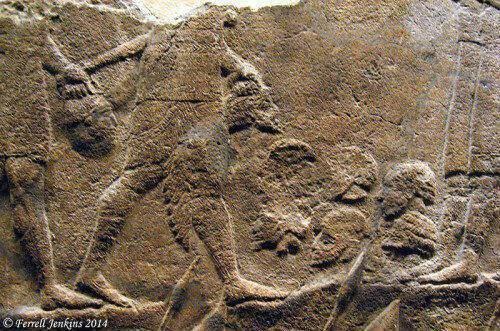 Εικ. 3. Συλλογή κομμένων κεφαλιών Ιουδαίων αιχμαλώτων προκειμένου να               καταμετρηθούν (λεπτομέρεια από το ανάγλυφο της Λαχίς). Βρετανικό Μουσείο, Λονδίνο.