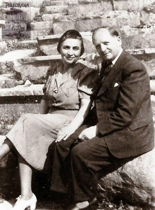 Ο ιθύνων νους της κιβωτού σωτηρίας φιλέλληνας Οκτάβιος Μερλιέ με την Ελληνίδα σύζυγό του Μέλπω Λογοθέτη-Μερλιέ.