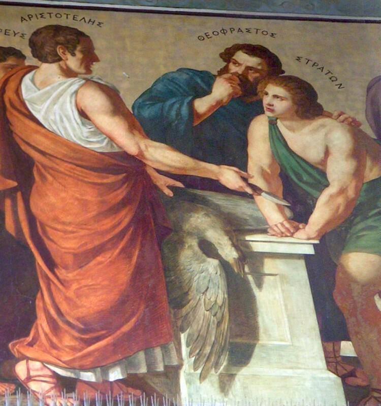 Ο Αριστοτέλης με τον Θεόφραστο στα Προπύλαια του Πανεπιστημίου Αθηνών