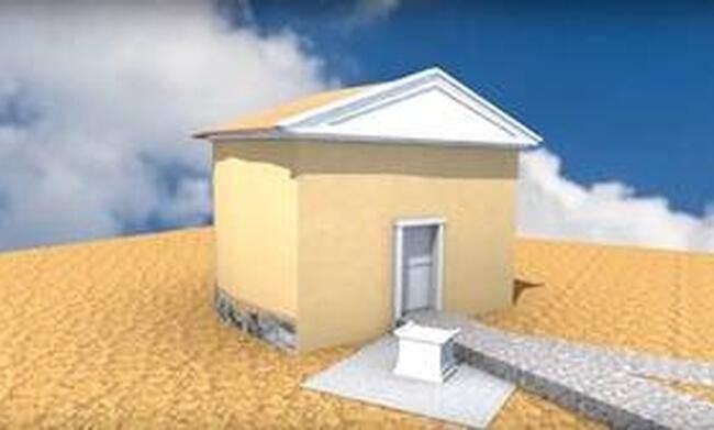 Αναπαράσταση του τάφου του Αρσιτοτέλη σύμφωνα με τα στοιχεία του αρχαιολόγου Κ. Σισμανίδη